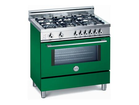 Bertazzoni X365PIRVE Professional Series Dual Fuel Freestanding Range with Sealed Burner Cooktop, 4 cu. ft. Primary Oven Capacity, Storage in Green