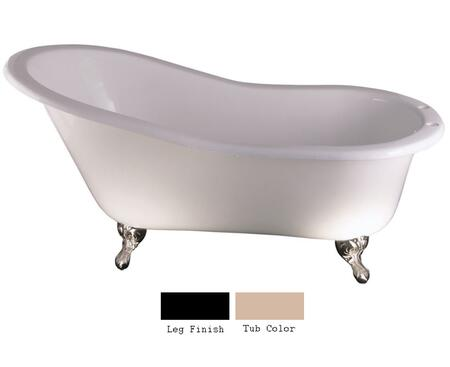 "Barclay CTSH60 61"" Griffin Cast Iron Slipper Tub with Overflow and 7"" Rim Holes in"