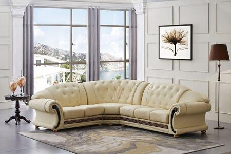 "ESF Versachi Collection I1702X 105/120"" Sectional with Leather in Beige"