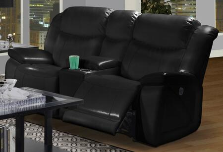 """New Classic Home Furnishings 2-324-23-MBK Soho 78.5"""" Dual Recliner Console Loveseat with Bonded Leather Match, Storage, Two Cupholders, Sinuous Spring """"No Sag"""" Deck and Memory Foam Topper, in Black"""