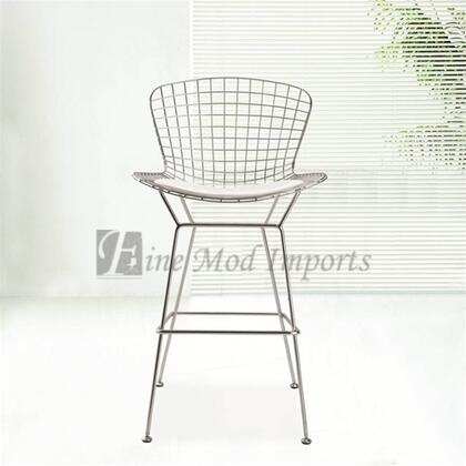 Fine Mod Imports FMI1136WHITE Wire Series Commercial/Residential Leather Upholstered Bar Stool