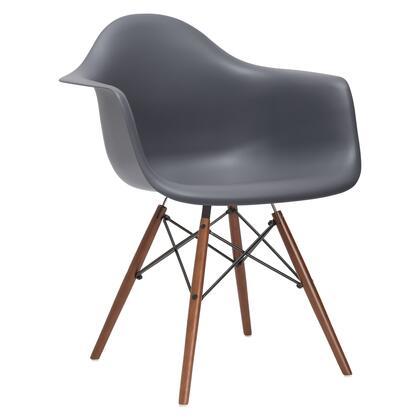 EdgeMod EM110WALGRY Vortex Series Modern Wood Frame Dining Room Chair