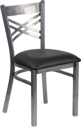 """Flash Furniture Hercules Collection 19"""" Side Chair with """"X"""" Back Design, 18 Gauge Steel Clear Coated Frame, Plastic Floor Glides and Vinyl Upholstered Seat in"""