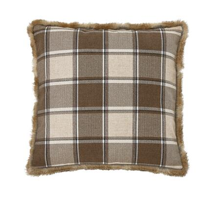 "Signature Design by Ashley Smythe Collection A100031XP Single 20"" x 20"" Pillow with Faux Fur Trim, Plaid Design and Polyester Cover in"