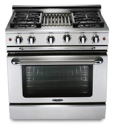 "Capital GCR364BN 36"" Precision Series Natural Gas Freestanding Range with Sealed Burner Cooktop, 4.6 cu. ft. Primary Oven Capacity, in Stainless Steel"