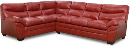Simmons Upholstery Soho 9515 Sectional Sofa with Split Back Cushion, Bonded Leather, Stitched Detailing and Block Feet in