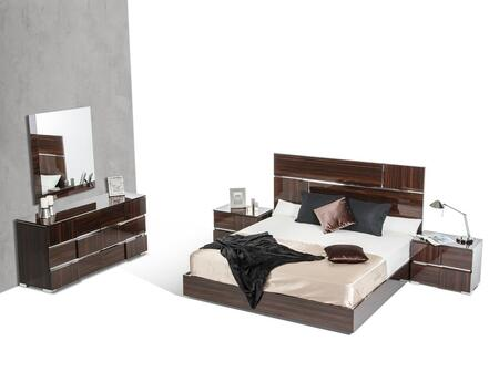 VIG Furniture VGACPICASSOSETEBONY Modrest Picasso Italian Bedroom Set with Silver Accents, Metal Feet, LED Lights and Lacquer Finish in Ebony