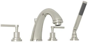 Rohl A1264LM Transitional Series Avanti Deck Mounted Bath Mixer with 6 GPM Flow Rate, Fixed Spout and Metal Levers in