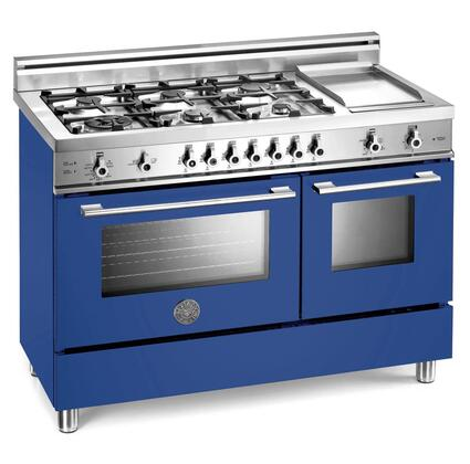 Bertazzoni X486GGGVBL Professional Series Natural Gas Freestanding Range with Sealed Burner Cooktop, 2.9 cu. ft. Primary Oven Capacity, Storage in Blue