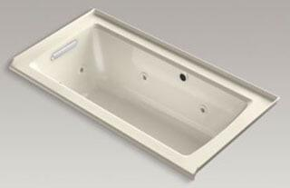 """Kohler K-1947-LW Archer 60"""" x 30"""" Alcove Whirlpool Bath Tub with Bask Heated Surface, Integral Flange and Left-Hand Drain in"""