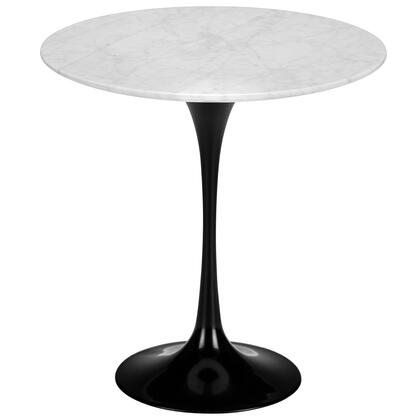 EdgeMod Daisy Collection 20  Side Table with White Marble Top, Tapering Pedestal, Aluminum Base, Scratch and Chip Resistant in