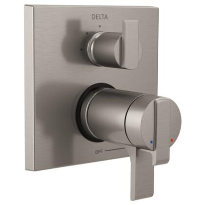 Ara T27T867-SS Delta Ara: Angular Modern TempAssure 17T Series Valve Trim with 3-Setting Integrated Diverter in Stainless
