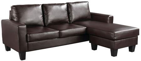 """Glory Furniture 76"""" Sofa Chaise with Reversible Chaise, Track Arms, Removable Backs, Tapered Legs and Faux Leather Upholstery in"""