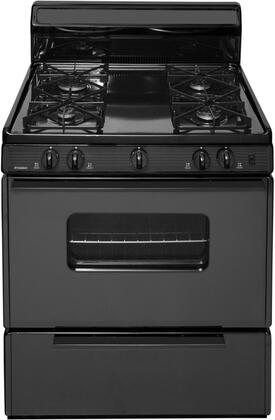 "Premier SMK290x 30"" Freestanding Gas Range with 4 Sealed Burners, Porcelain Coated Steel Grates, Backguard, 2 Oven Racks, and Electronic Ignition, in"