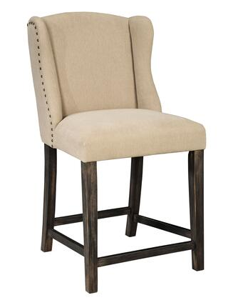Signature Design by Ashley Moriann D608-5 High Upholstered Bar stool with Bronze Nail Accents, Wing Designed Back and Fabric Upholstery in Light Beige Color