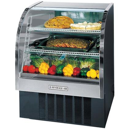 "Beverage-Air CDR4/1 One Section 49"" Curved Glass Refrigerated Bakery Display Case, 18.1 cu.ft. Capacity, [Black] Exterior and Bottom Mounted Compressor"