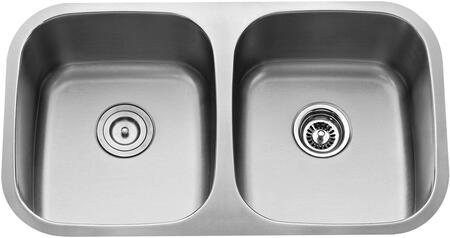 "Kraus KBU22KPF1621KSD30 Premier Series 33"" Undermount 50/50 Double-Bowl Kitchen Sink with Stainless Steel Construction, Sound Insulation, and Included Pull-Down Kitchen Faucet"