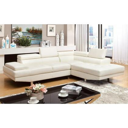 "Furniture of America Kemina Collection CM6833XX-SET 105"" 2-Piece Sectional with Tufting Details, Chrome Legs and Bonded Leather Match in"