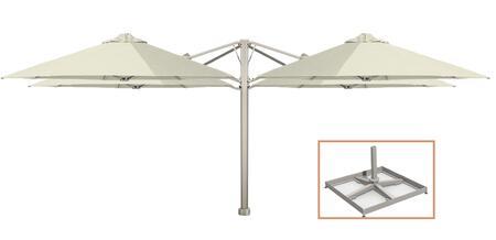 """Shadowspec Template: KITP6SQ25QTOPBAW (A) SU6 Quattro 8'2""""/2.5m Square Umbrella with Portable Base Fixing in Arctic White"""