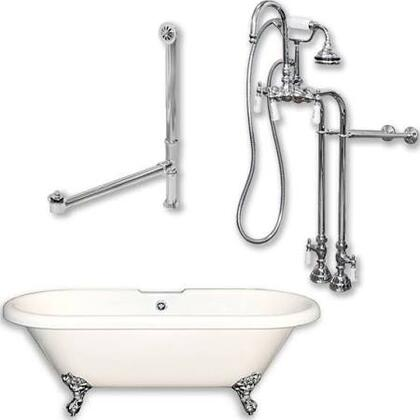 "Cambridge ADE398684PKG Acrylic Double Ended Clawfoot Bathtub 70"" x 30"" with no Faucet Drillings and Complete Plumbing Package"