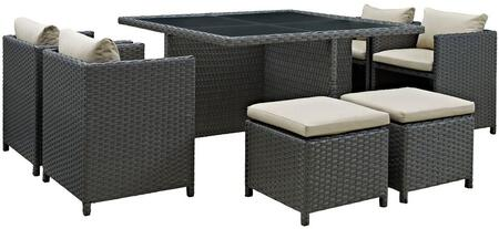 Modway Sojourn Collection EEI-1946-CHC- 9-Piece Outdoor Patio Sunbrella Dining Set with 4 Chairs, 4 Stools, and Glass Top Table