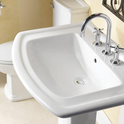 "Barclay B/3-39WH Washington 550 Basin Only, with Pre-drilled Faucet Holes, Overflow, 6"" Basin Depth, and Vitreous China Construction, in White"