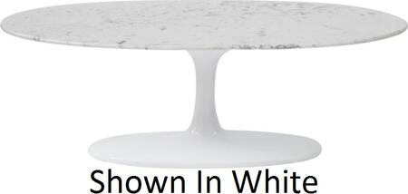Fine Mod Imports FMI10065 Marble Flower Oval Coffee Table In