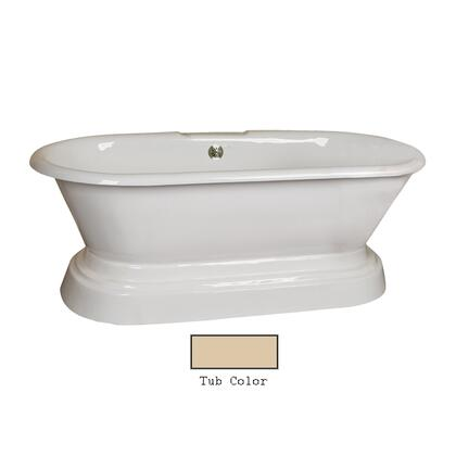 "Barclay CTDRN67B Dickenson 67"" Cast Iron Double Roll Tub with Structured Base and White Enamel Interior, in"
