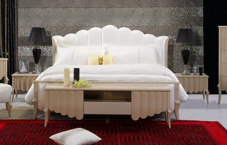 VIG Furniture VGSLEWATERFALLBEIGEK Waterfall Series  King Size Platform Bed