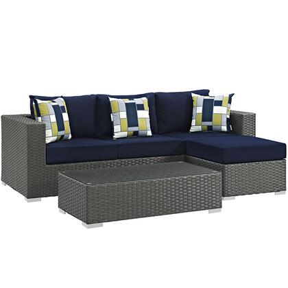 Modway EEI2384CHCNAVSET Rectangular Shape Patio Sets