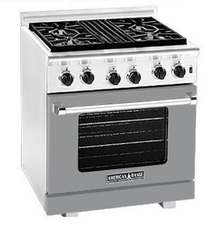 American Range ARR304MG Heritage Classic Series Natural Gas Freestanding Range with Sealed Burner Cooktop, 4.8 cu. ft. Primary Oven Capacity, in Gun Metal