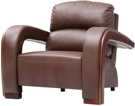 """Glory Furniture 39"""" Armchair with Wood Trim on Arms, Split Back Cushion, Removable Arms and Faux Leather Upholstery in"""
