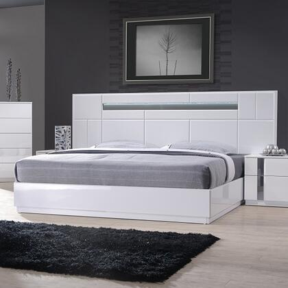 J M Furniture Palermo 4 Piece Platform Bedroom Set in White Lacquer   Chrome (1)