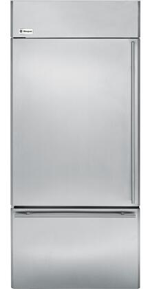"""GE Monogram ZICS360NX 36"""" 20.6 cu. ft. Built-In Bottom-Freezer Refrigerator with Upfront Electronic Controls with Digital Readout, Multi-Shelf Air Management Tower and Water Filtration in Stainless Steel"""