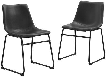 Walker Edison Faux Leather Dining Kitchen Chairs, Set of 2 with Synthetic Leather Upholstery