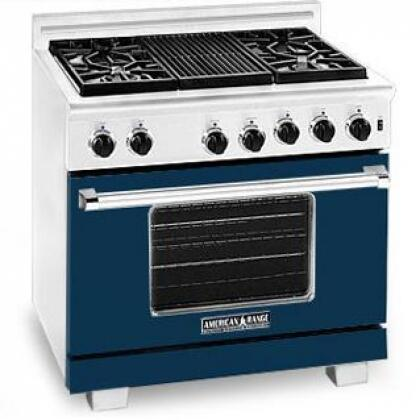 American Range ARR364GDLDB Heritage Classic Series Dark Blue Liquid Propane Freestanding Range with Sealed Burner Cooktop, 5.6 cu. ft. Primary Oven Capacity,