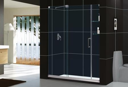 DreamLine SHDR-19607210 Mirage Frameless Sliding Door Design With Two Stationary Glass Side Panels, Reversible For Right or Left Configuration & In