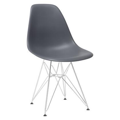 EdgeMod EM104CRMGRY Padget Series Modern Metal Frame Dining Room Chair