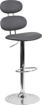 """Flash Furniture 40"""" - 48"""" Barstool with Gas Lift Adjustable Height, Mid-Back Design, Swivel Seat, Footrest, Chrome Base and Vinyl Upholstery in"""