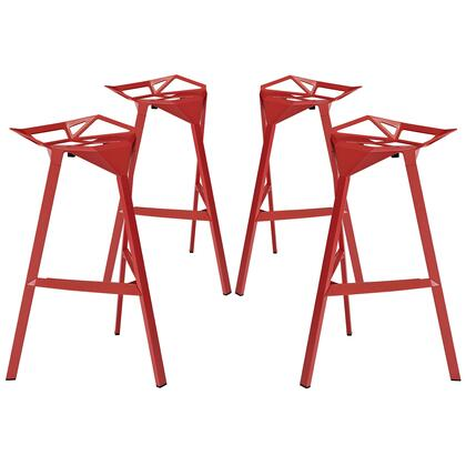 Modway EEI-1363 Launch Stacking Bar Stool Set of 2 with Sleek Modern Design, Indoor/Outdoor Use, Easy Wipe Clean Surface, Stackable and Coated Aluminum Frame