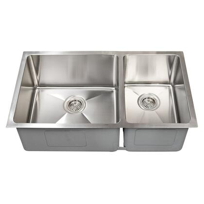 Barclay KSSDB25 Guilio Collection Stainless Steel 60/40 Offset Double Bowl Undermount Sink with Tight Radius Corners and Insulation for Sound Reduction