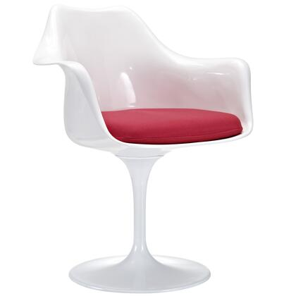 Modway EEI-116 Lippa Dining Armchair with Modern Design, ABS Plastic Seat, Aluminum Base, and Cloth Cushions, in White