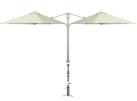 """Shadowspec Template: KITP6SQ30DUOGAAW (A) SU6 Duo 9'10""""/3m Square Umbrella with In Ground Anchor in Arctic White"""