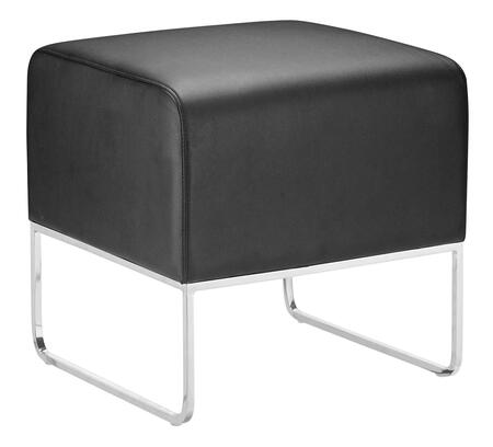 """Zuo 10300X Plush Collection 18"""" Ottoman with Chromed Steel Tube Legs, and Leatherette Upholstery"""