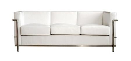 Fine Mod Imports FMI1159WHITE  Stationary Cushions Upholstered in Genuine Leather Front, Sides and Back Sofa