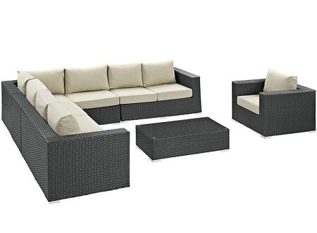 Modway Sojourn Collection EEI-2013-CHC-XXX-SET 7-Piece Outdoor Patio Sunbrella Sectional Set with Left Arm Facing Loveseat, 2x Armless Chairs, Corner Chair, Right Arm Facing Loveseat, Coffee Table and Arm Chair in
