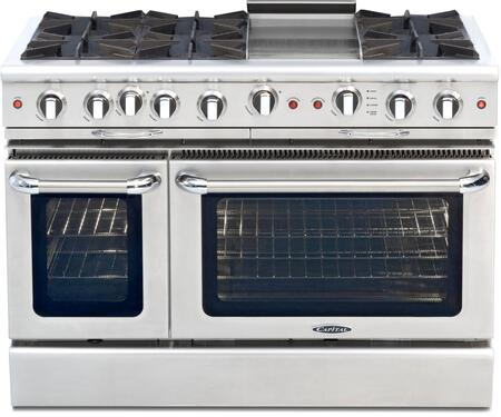 "Capital CGSR484G2N 48"" Culinarian Series Gas Freestanding Range with Open Burner Cooktop, 4.6 cu. ft. Primary Oven Capacity, in Stainless Steel"