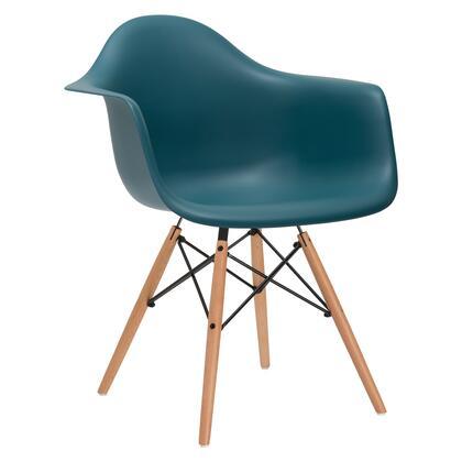 EdgeMod EM110NATTEA Vortex Series Modern Wood Frame Dining Room Chair
