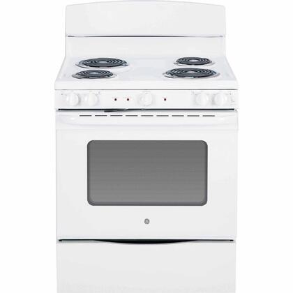 "GE JB450DFWW 30"" Electric Freestanding Range with Coil Element Cooktop, 5.0 cu. ft. Primary Oven Capacity, Storage in White"