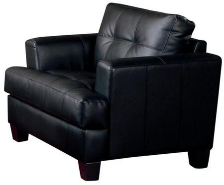 """Coaster Samuel 42"""" Armchair with Attached Seat Cushions, Sinuous Spring Base, Jumbo Stitching and Bonded Leather Upholstery in"""